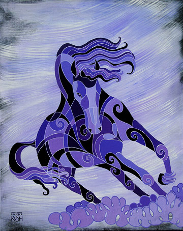 Contemporary Black horse on Purple Background running at angle